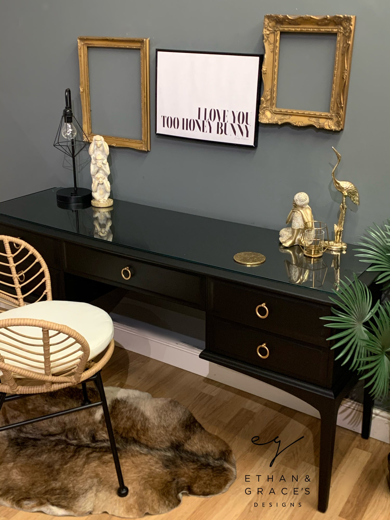Image of Black stag desk / dressing table with glass top