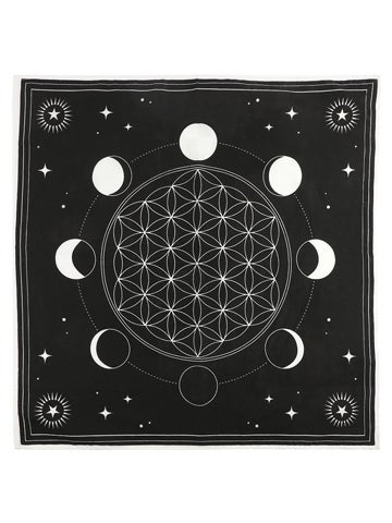 Image of MOON PHASE CRYSTAL GRID Altar Cloth