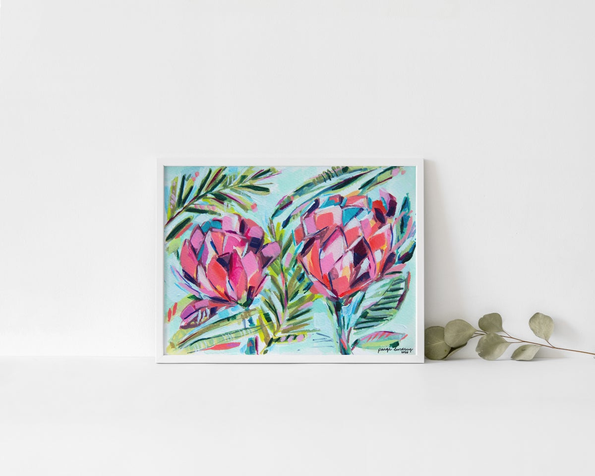 Image of Bright Protea Flowers Print