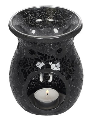 Image of LARGE CRACKLE GLASS OIL BURNER Black