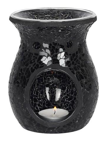 Image of LARGE CRACKLE GLASS OIL BURNER Black