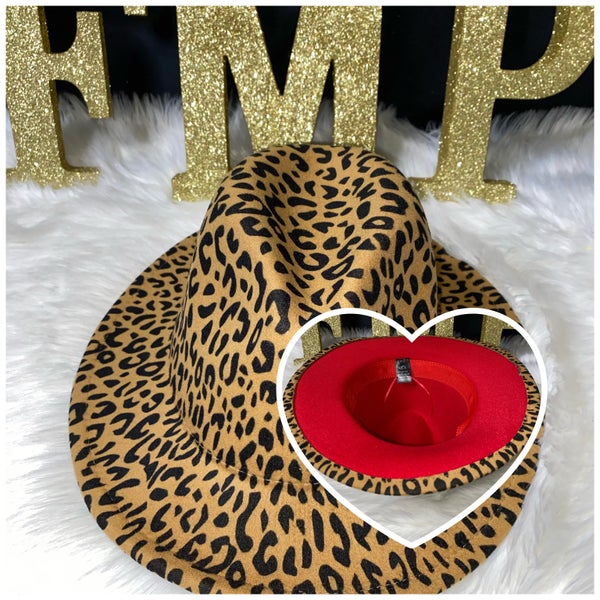 Image of Tan leopard red bottom