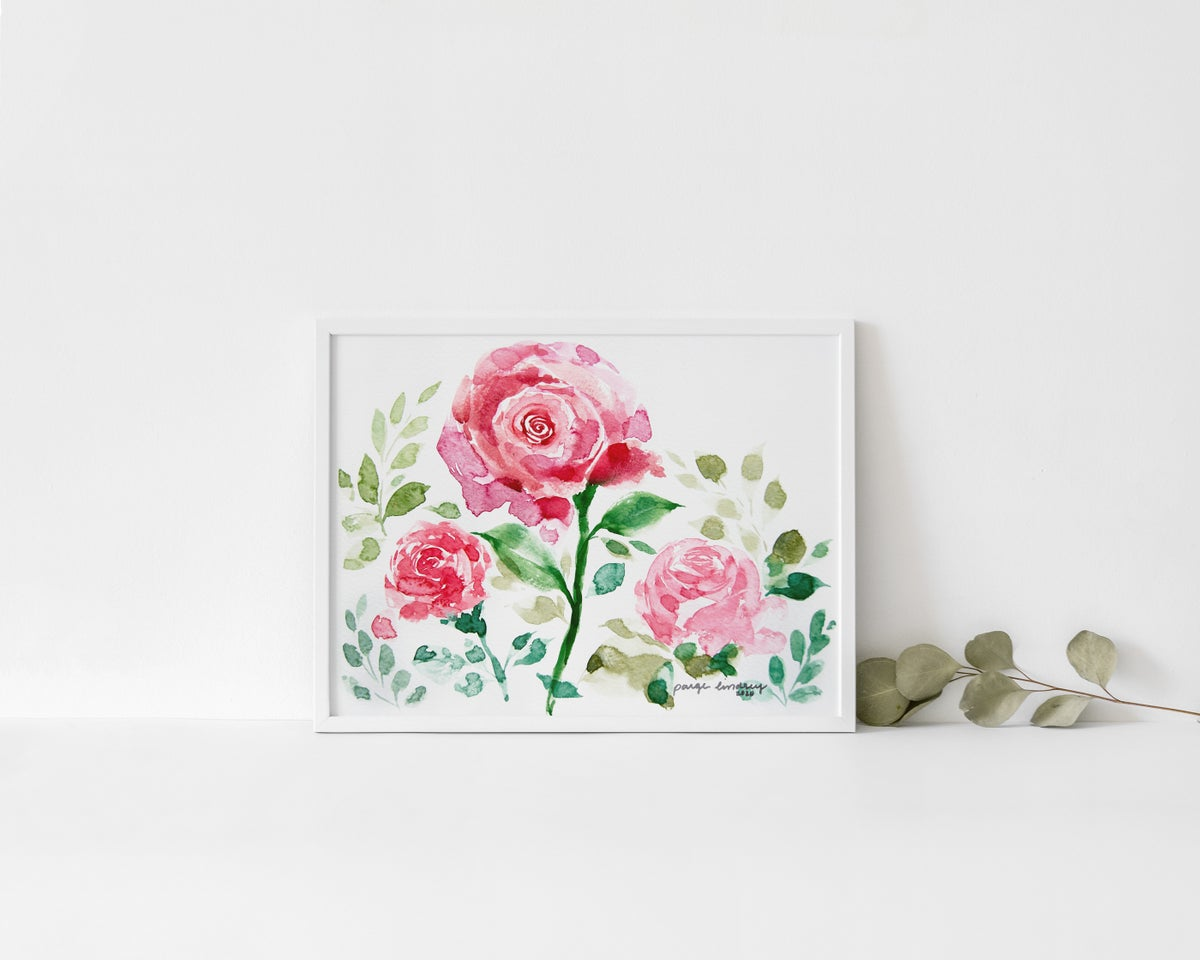 Image of Watercolor Roses Print