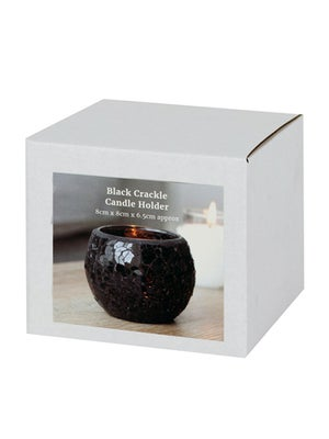 Image of SMALL CRACKLE GLASS CANDLE HOLDER Black