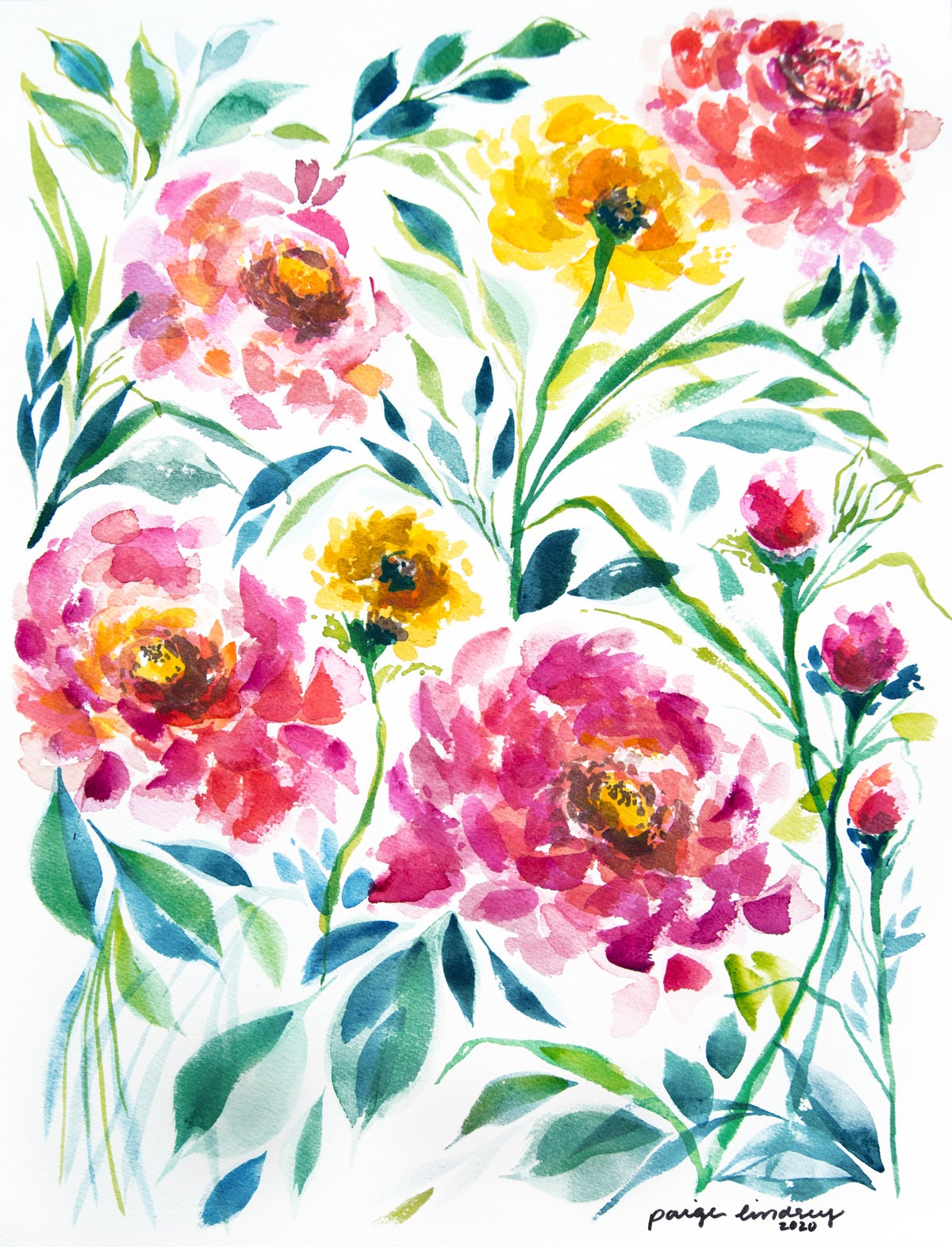 Image of Zinnia Flower Print