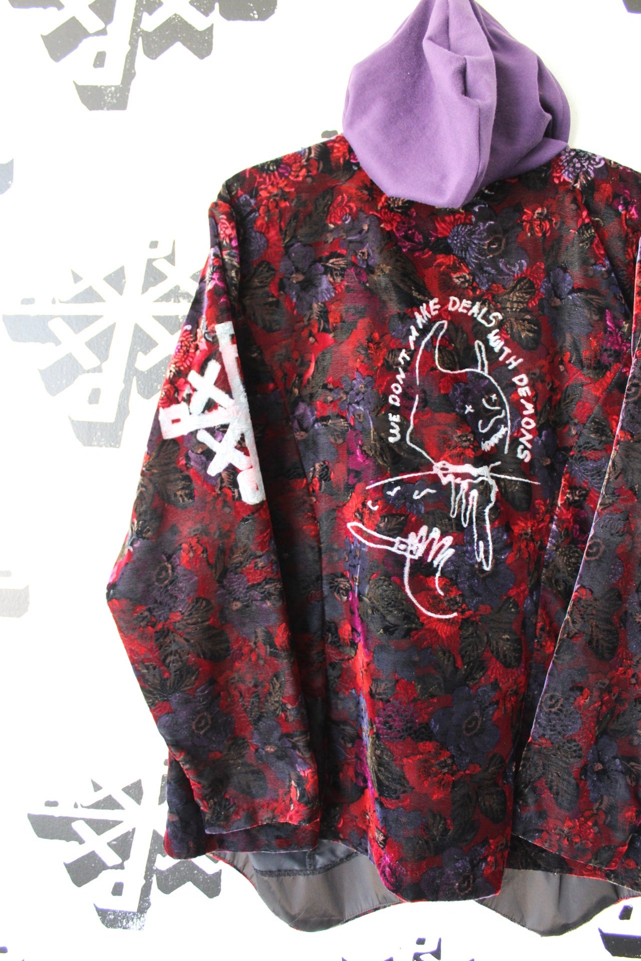 Image of we don't make deals with demons floral patterned velvet jacket