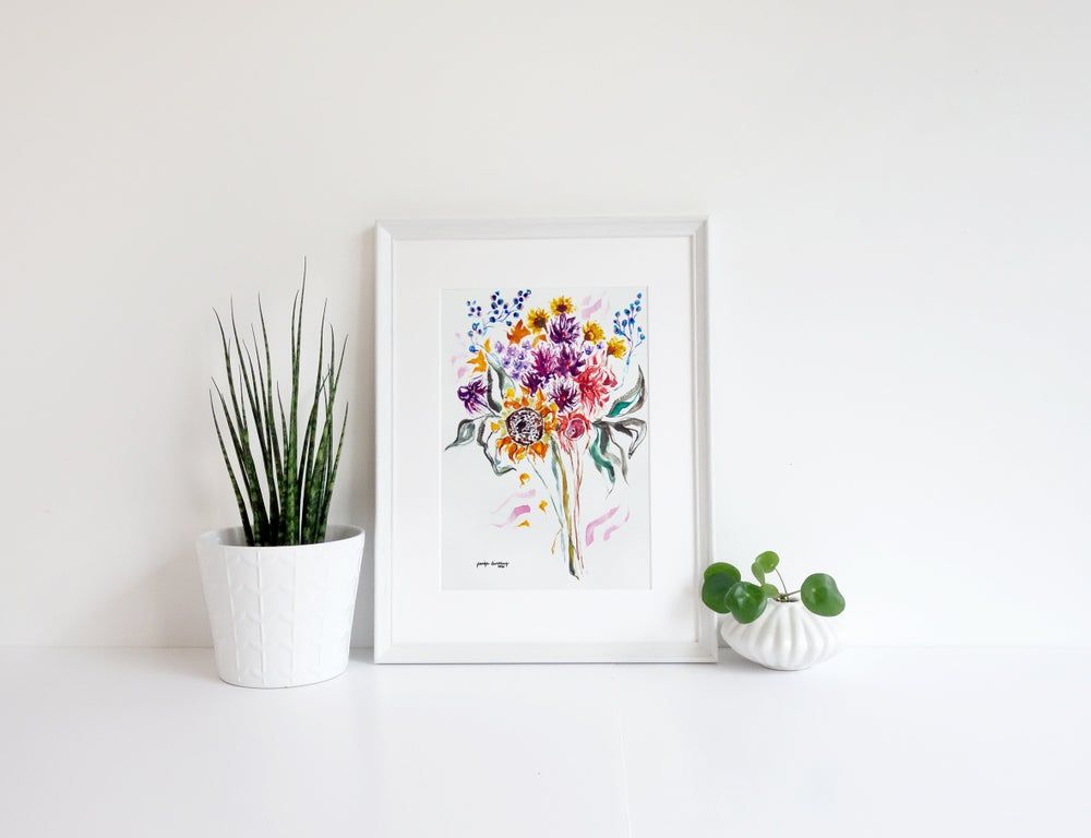 Image of Bright Sunflower Bouquet Print