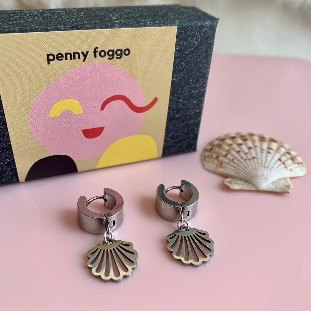 Image of Sea Shell Huggie Hoops