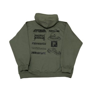 Multi Logo Hooded Sweater (Dull Olive)