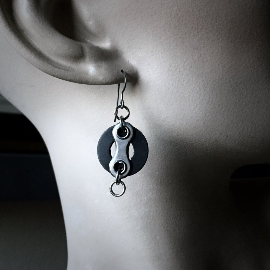 Image of Wheels - Upcyycled Bike Chain Earrings