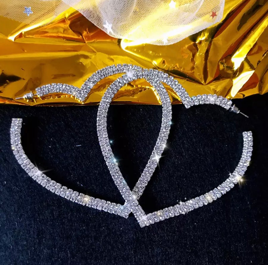 Image of Large Rhinestone Heart Hoop Earrings