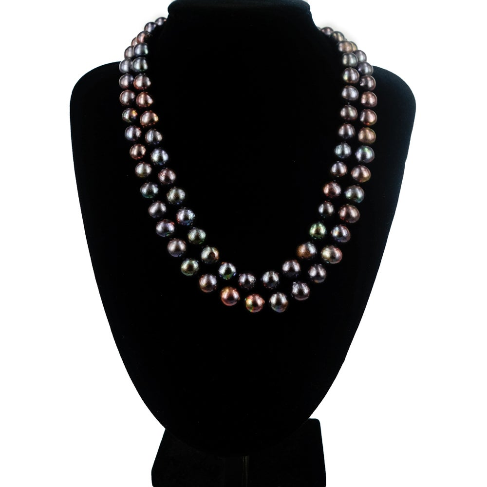 Image of Double strand of  black freshwater Pearls. Cp1155