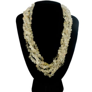 Image of Rutilated quartz multi-strand beaded necklace.M2101