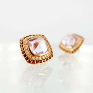 Image of Stunning rose gold diamond and gemstone stud earrings. M2125