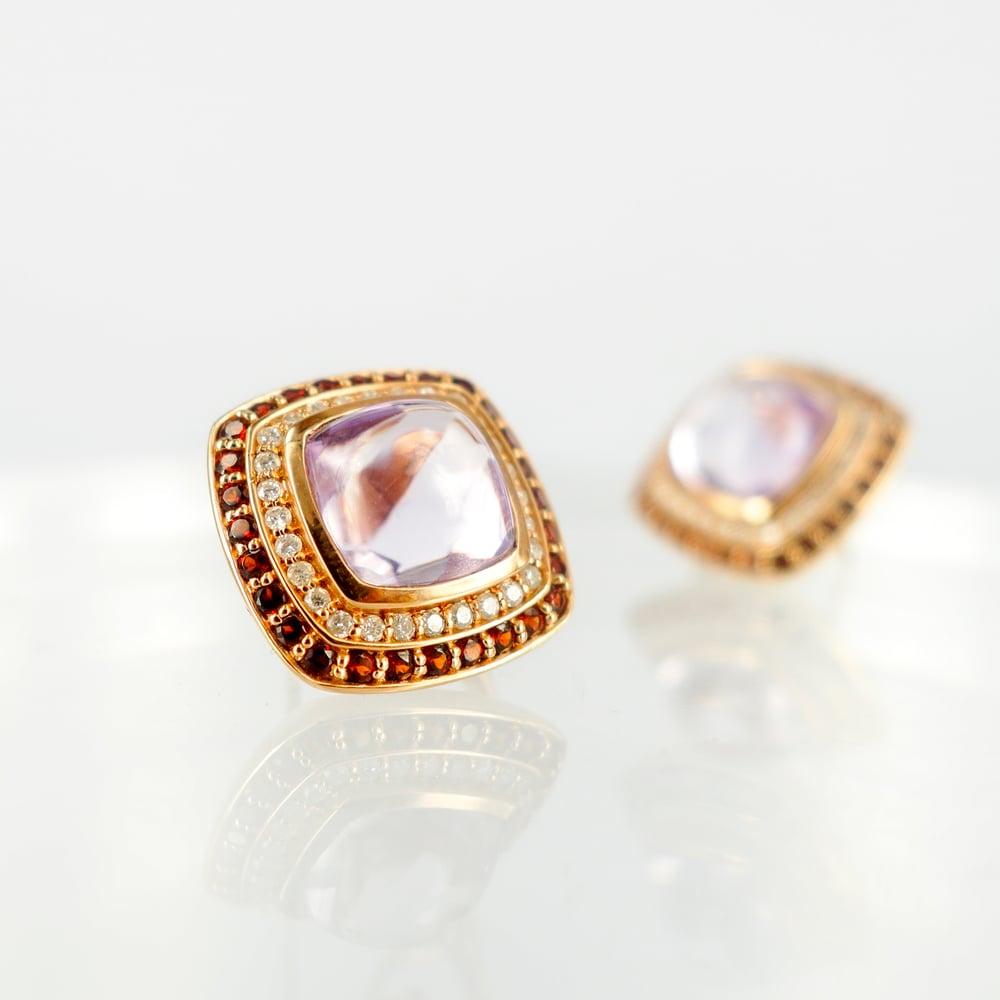 Image of Stunning rose gold diamond and gemstone stud earrings. M2125