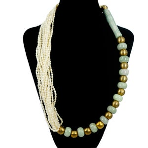 Image of Dramatic seed pearl and jadeite statement necklace. M2519