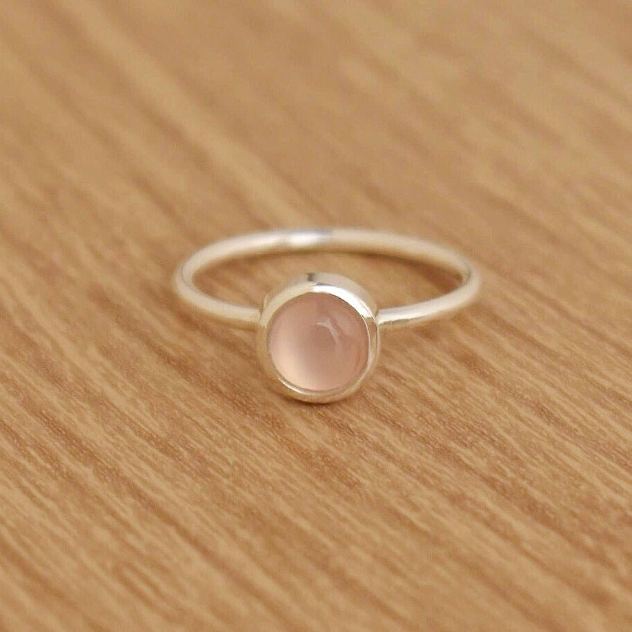 Image of Pink Chalcedony cabochon classic silver ring