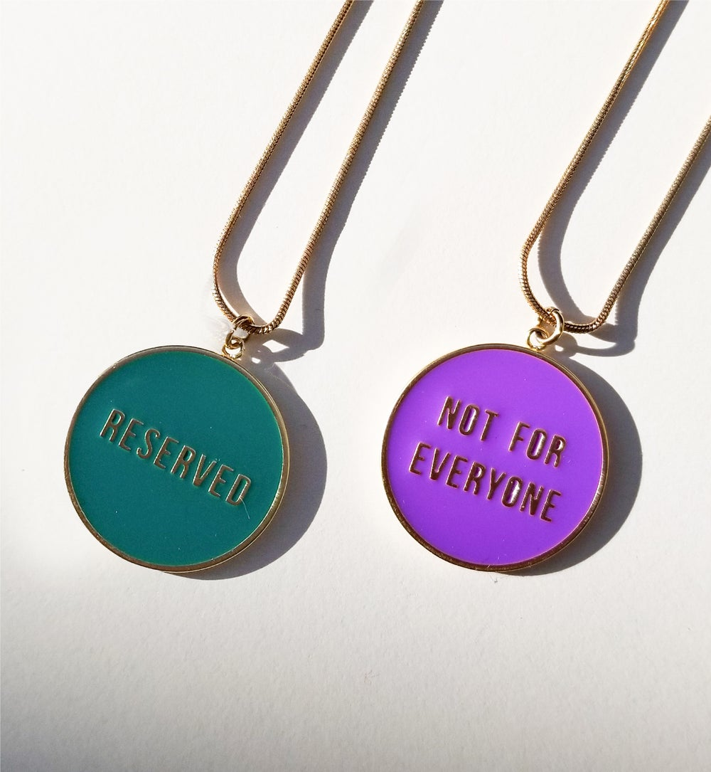 Not for Everyone + Reserved - reversible necklace- Green/ Purple