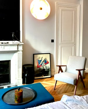 Image of Fauteuil KOMPAS chiné bleu beige