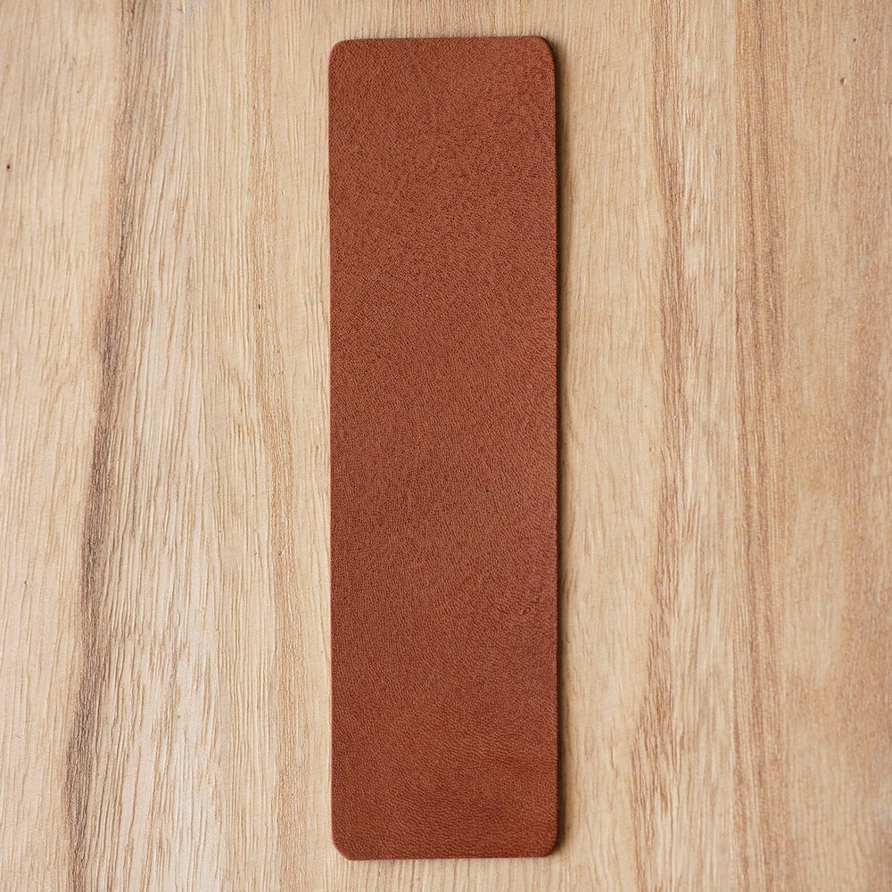Image of Handmade Kangaroo leather bookmark - ochre brown