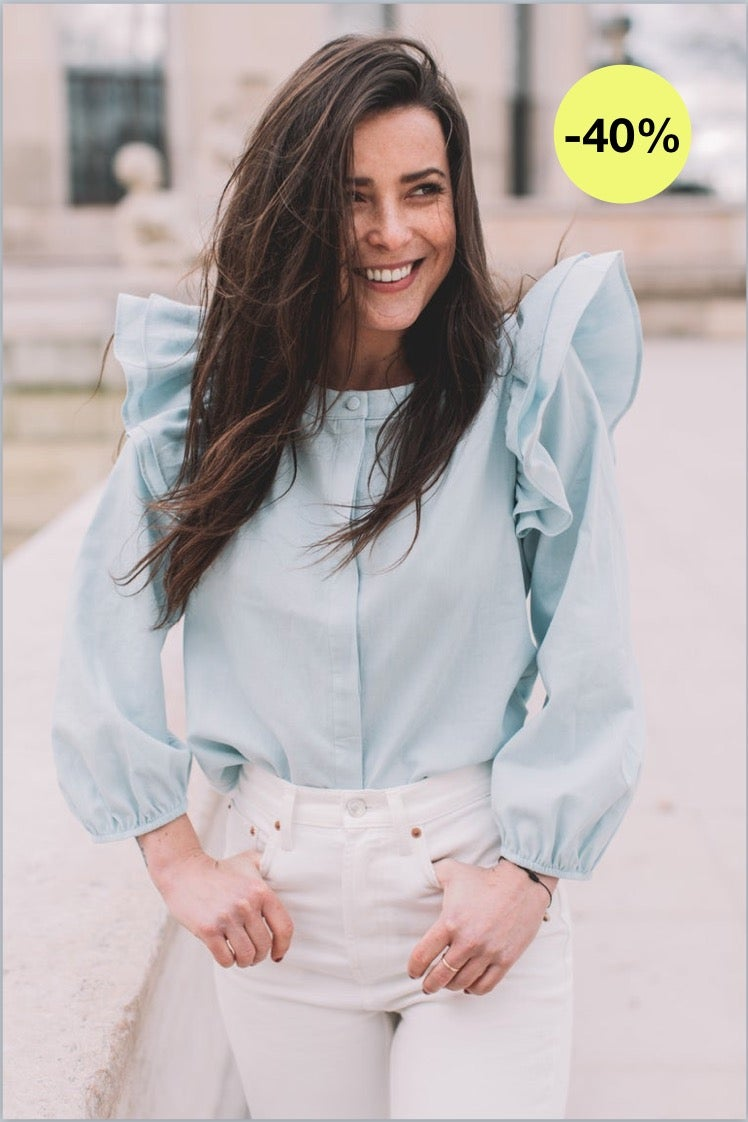 Image of BLOUSE LEANDRA - CHAMBRAY JEAN