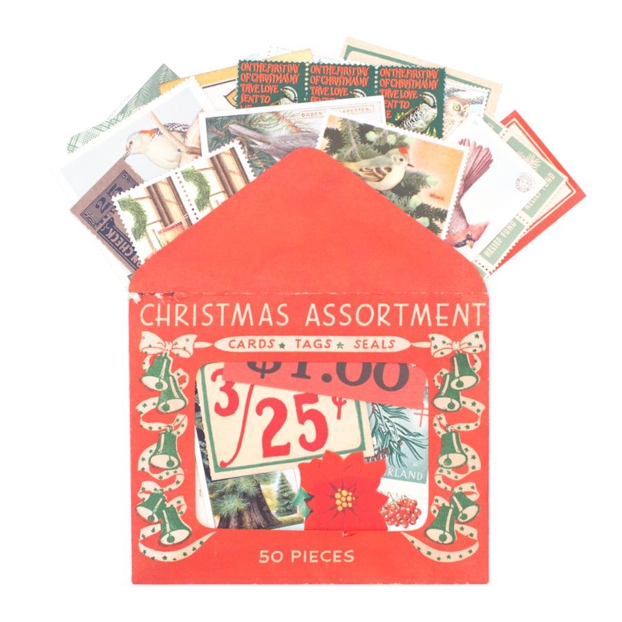 Image of Christmas Assortment Envelope with Christmas Ephemera