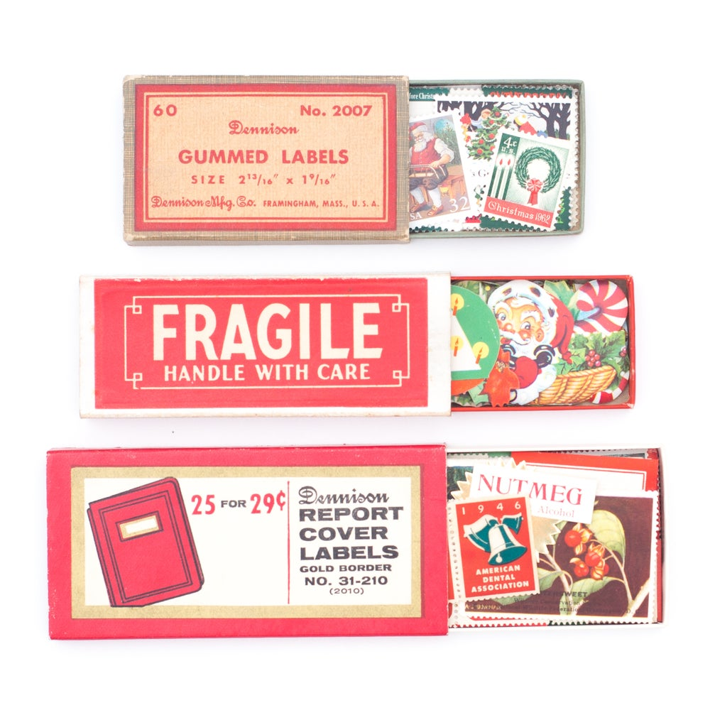 Image of Label Boxes with Ephemera & Postage Stamps