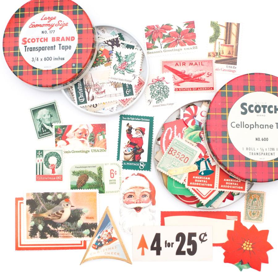 Image of Scotch Tape Tins with Postage Stamps & Ephemera - Set of 2