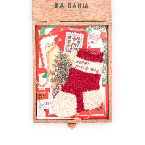 Image of Mini Wood Cigar Box with Christmas Ephemera & Stocking