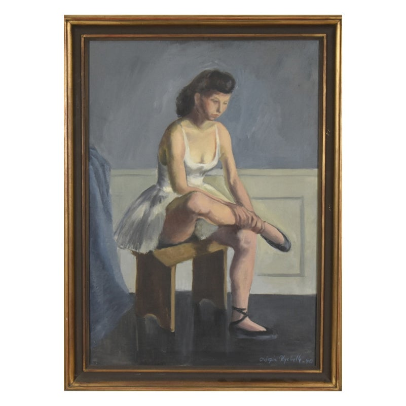 Image of Large, 1940, Swedish Oil Painting, 'Ballerina,'