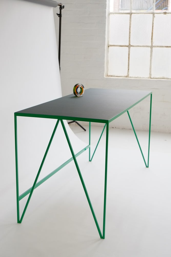 Image of Large Study Desk with Natural Linoleum Top | Customisable
