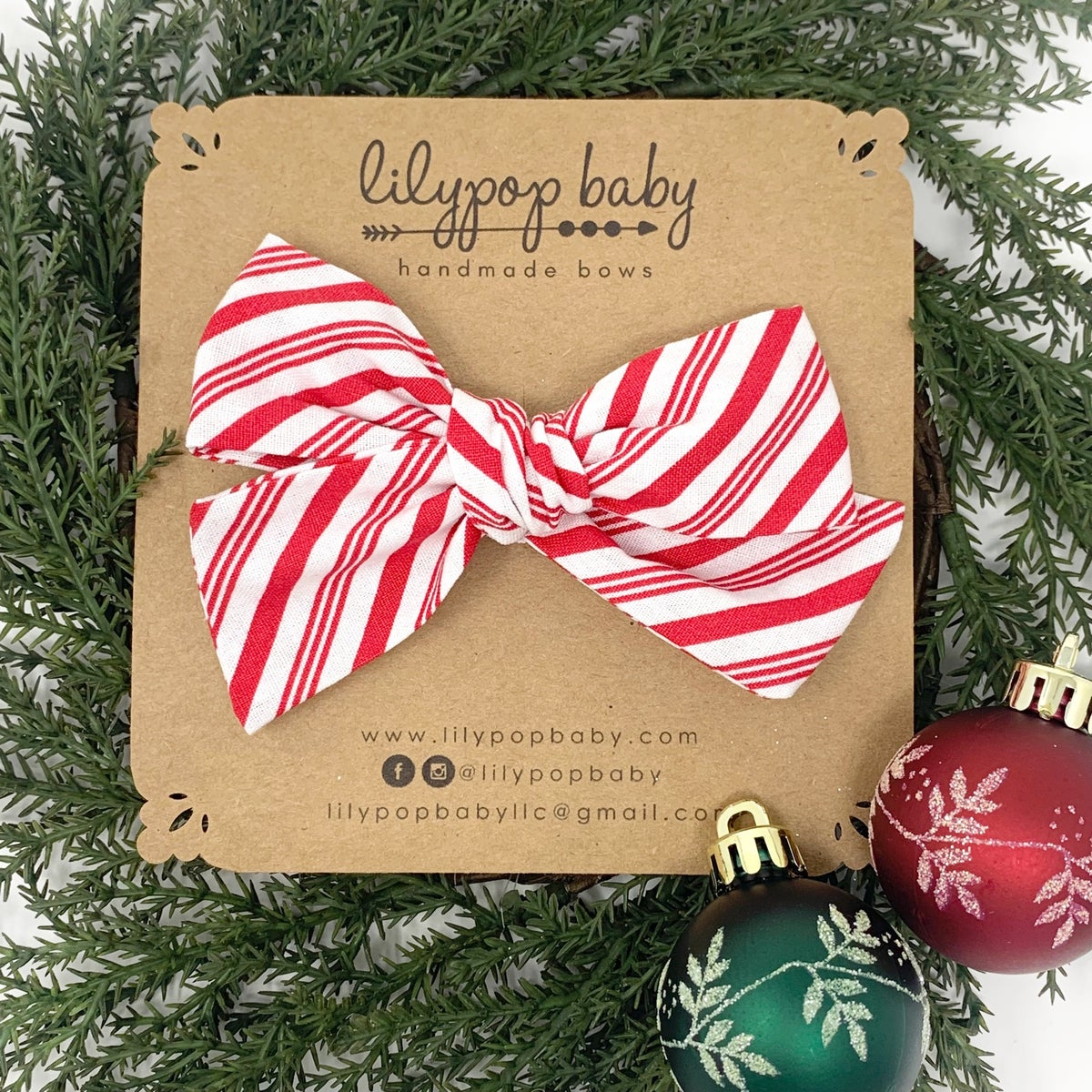 Image of Candy Cane Stripe Bow (Ready to Ship)
