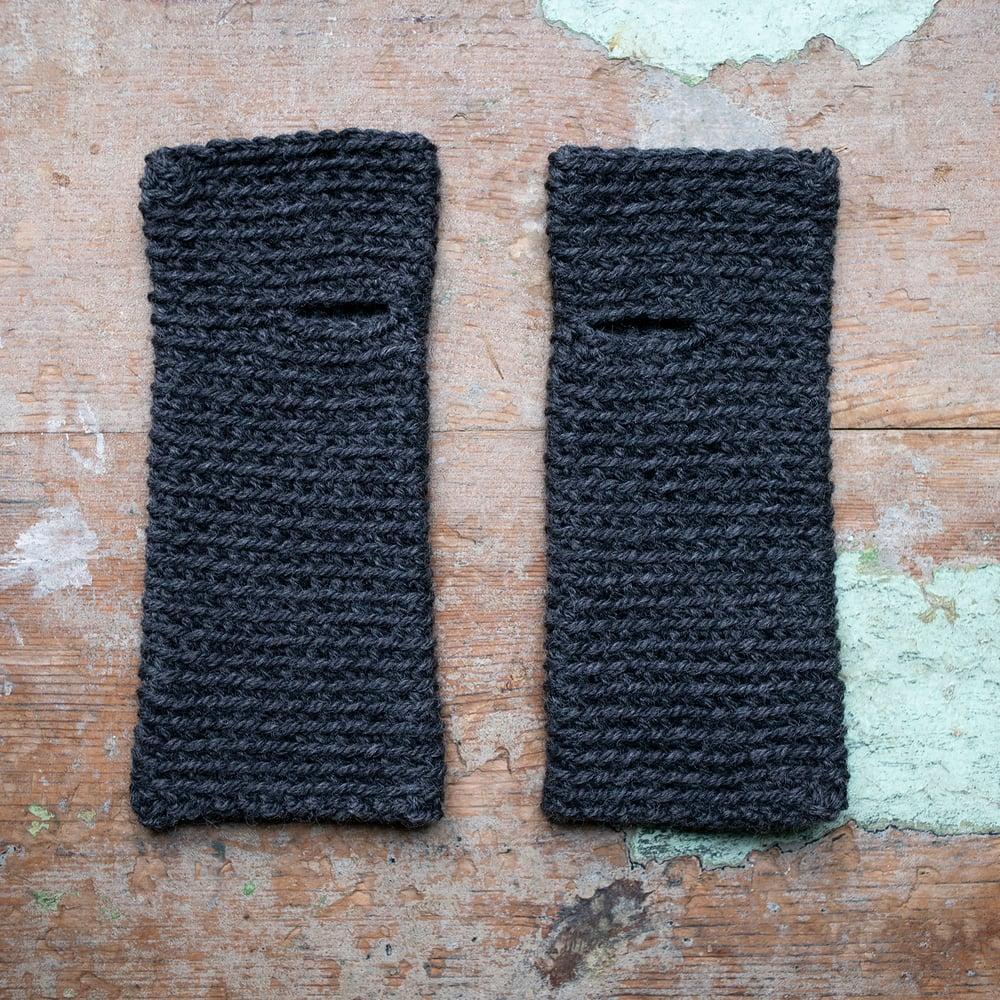 Image of Wrist Worms, Alpaca/Wool Graphite LARGE