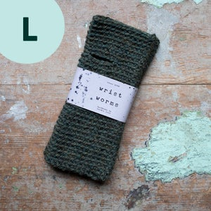 Image of Wrist Worms, Alpaca/Wool Military Green LARGE
