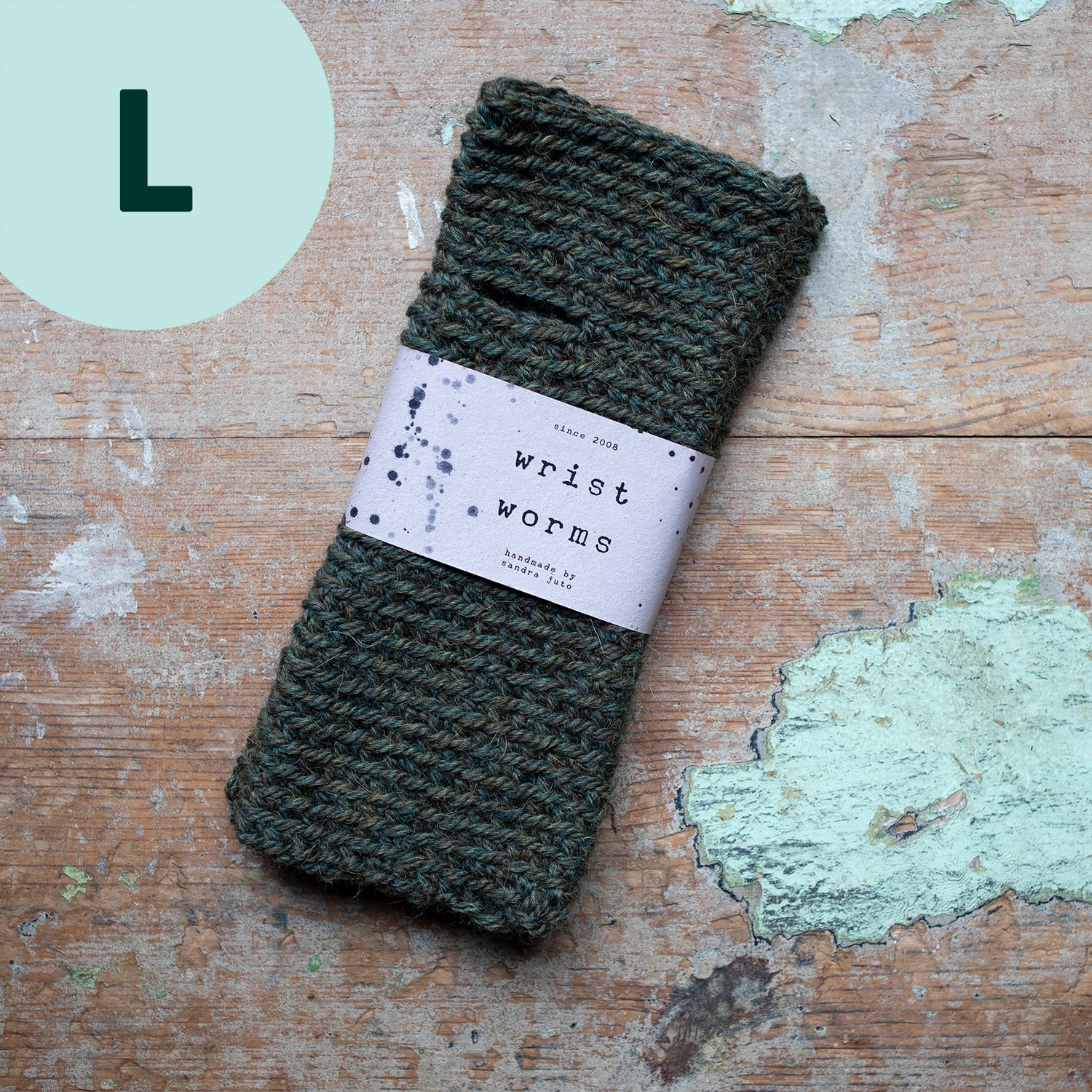 Wrist Worms, Alpaca/Wool, Military Green LARGE