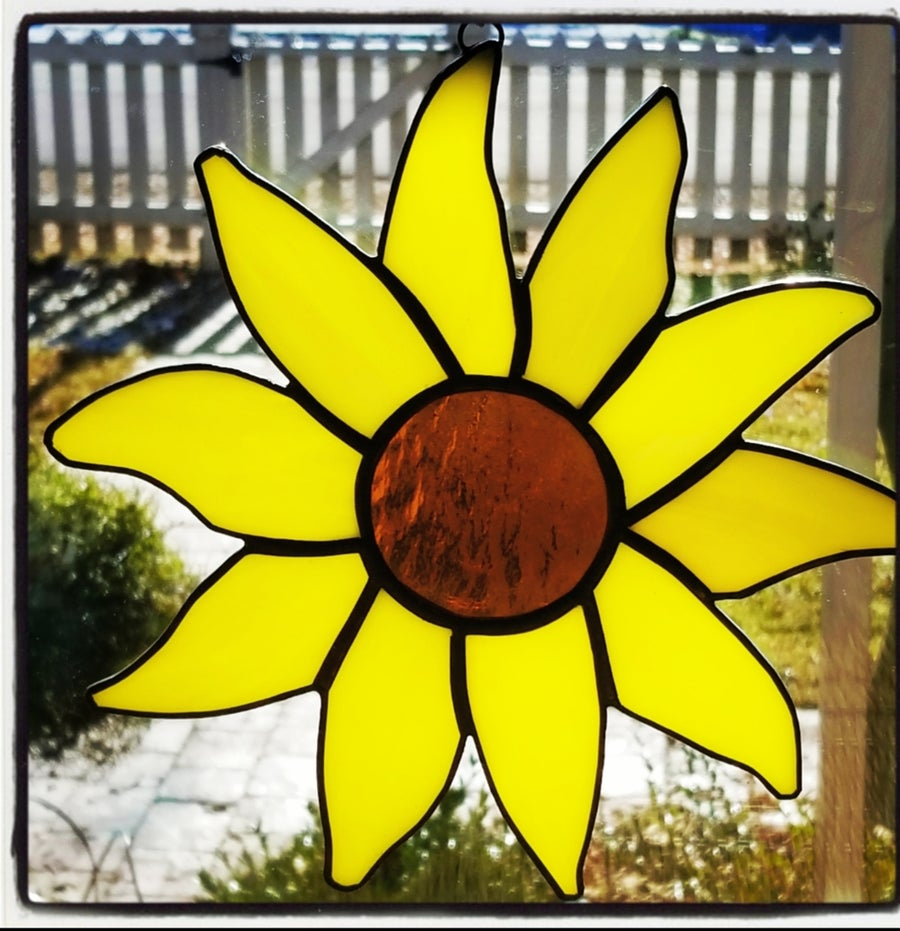 Image of Sunflower Sun catcher-Stained Glass