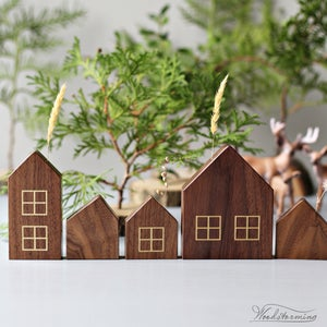 Image of Christmas home decorations - miniature houses, hygge home decor - set of 5