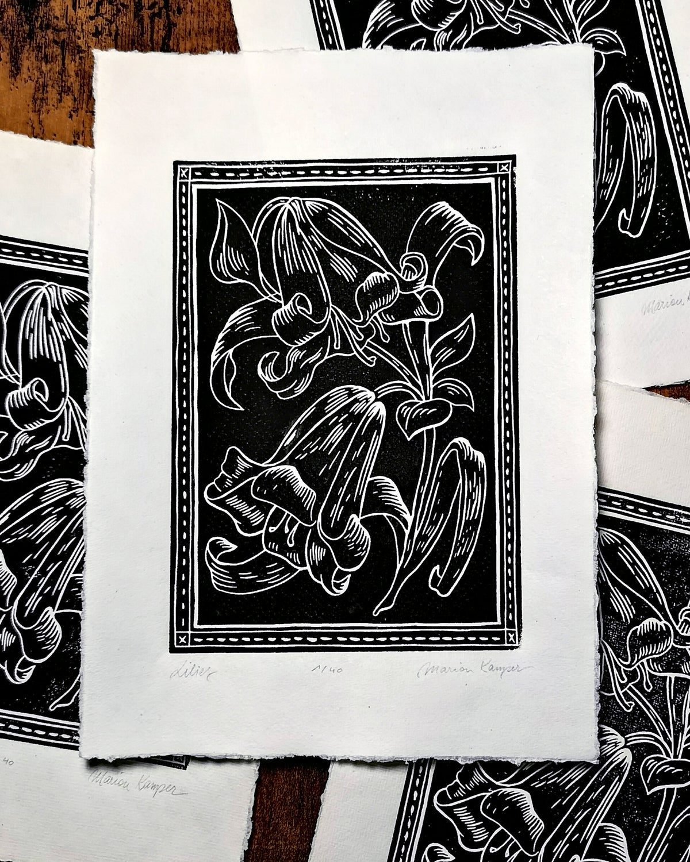 Black Lilies Linoprint