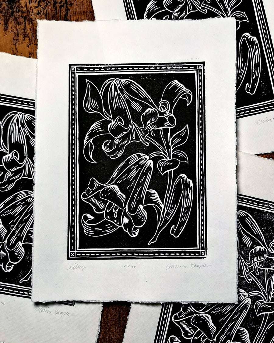 Image of Black Lilies Linoprint