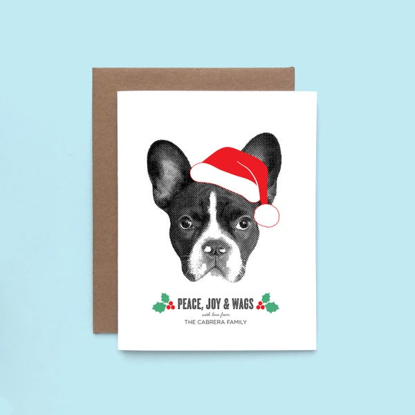 Image of Portrait Purchased Separately - Add-on Custom Pet Holiday Cards - Custom Pet Greeting Cards