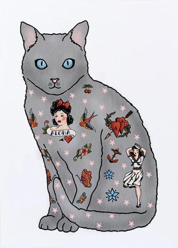 Image of Tattoo Grey Cat Card