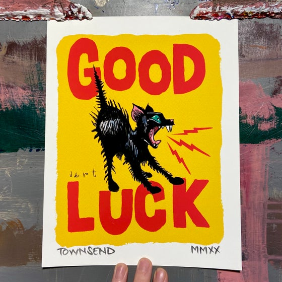 Image of FREE SHIPPING- GOOD LUCK KITTEN- YELLOW- 8.5x11 GICLEE PRINT