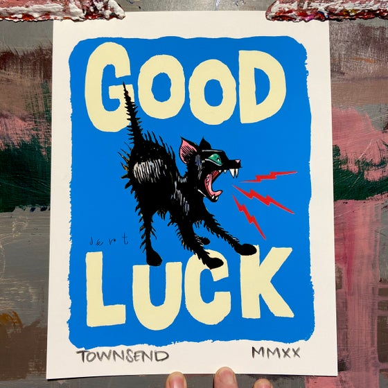 Image of FREE SHIPPING- GOOD LUCK KITTEN- BLUE- 8.5x11 GICLEE PRINT