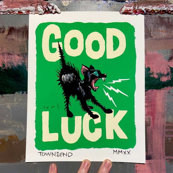 Image of FREE SHIPPING- GOOD LUCK KITTEN- GREEN- 8.5x11 GICLEE PRINT