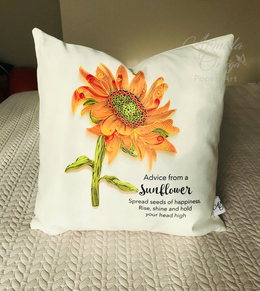 Image of ADVICE FROM A SUNFLOWER PILLOW CASE