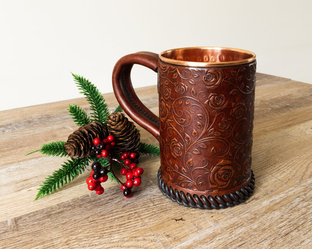 Image of Rose Pattern Embossed Leather Tankard