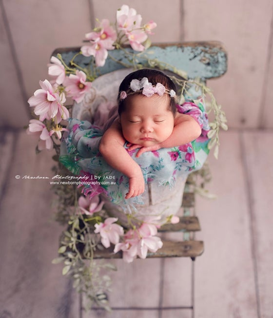 Image of Two bows and flowers headband (lavender & light blue)