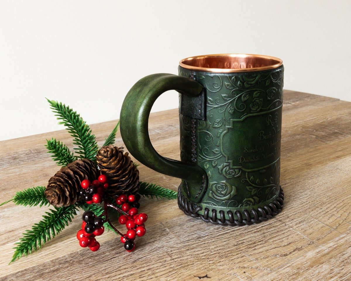 Image of Personalised Rose Pattern Leather Tankard
