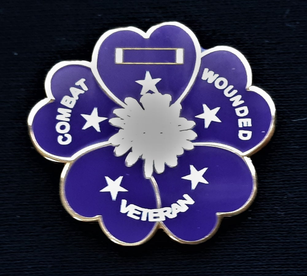 Image of Purple Heart White Center Poppy Pin