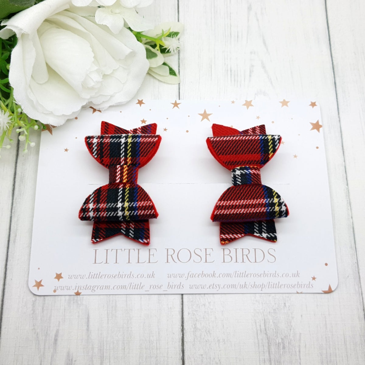 Image of Red Tartan Pigtail Bows
